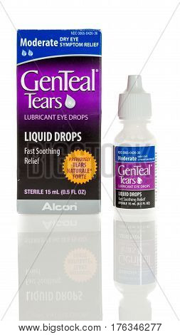 Winneconne WI - 5 March 2017: Genteal tears eye drops on an isolated background.