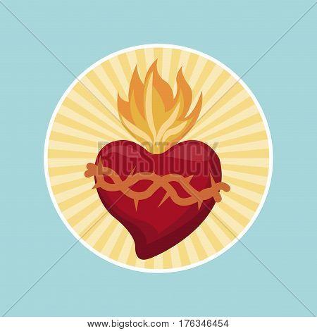 sacred heart blessed image label vector illustration eps 10