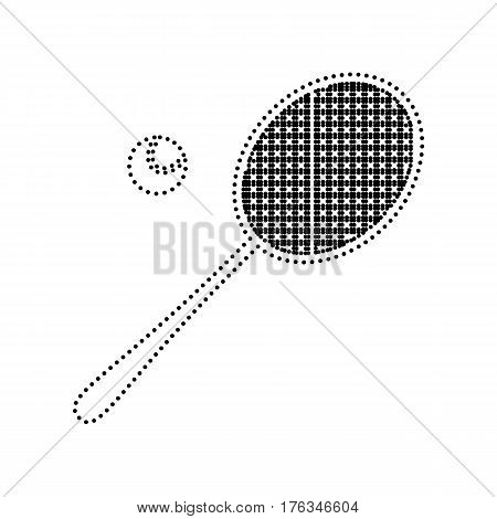 Tennis racquet sign. Vector. Black dotted icon on white background. Isolated.