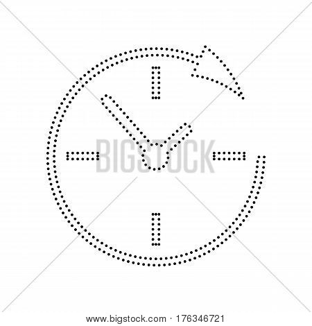 Service and support for customers around the clock and 24 hours. Vector. Black dotted icon on white background. Isolated.