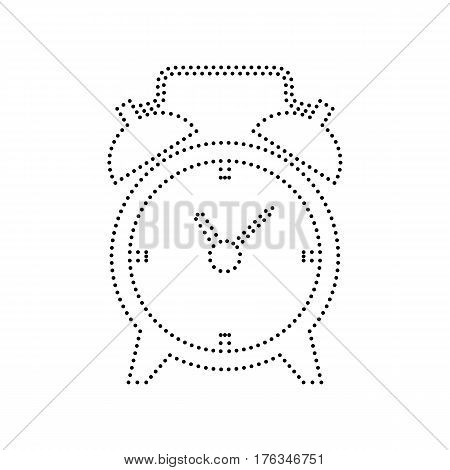 Alarm clock sign. Vector. Black dotted icon on white background. Isolated.