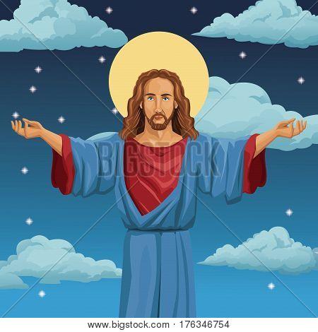 jesus christ religious blessed night background vector illustration eps 10
