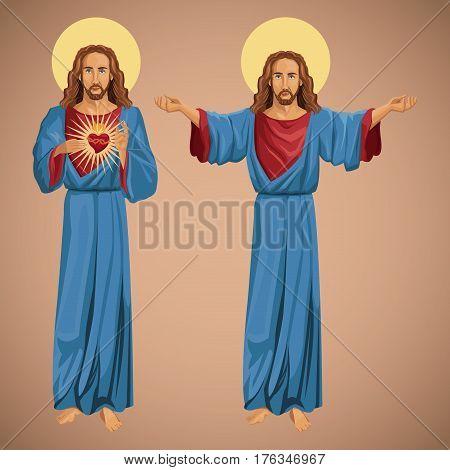 two image jesus christ sacred heart vector illustration eps 10
