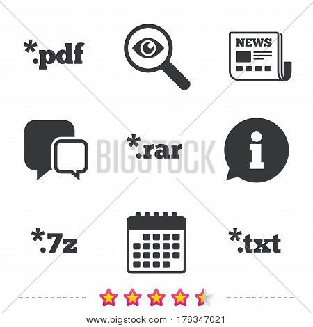 Document icons. File extensions symbols. PDF, RAR, 7z and TXT signs. Newspaper, information and calendar icons. Investigate magnifier, chat symbol. Vector