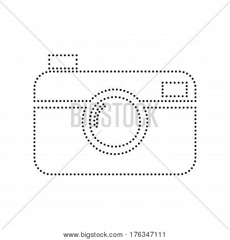 Digital photo camera sign. Vector. Black dotted icon on white background. Isolated.