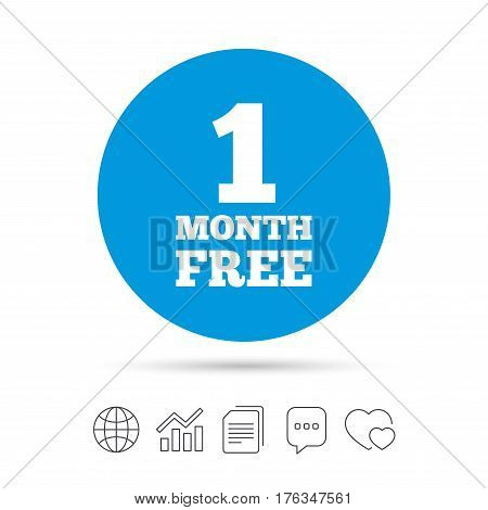 First month free sign icon. Special offer symbol. Copy files, chat speech bubble and chart web icons. Vector