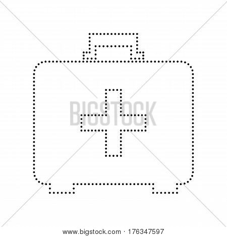 Medical First aid box sign. Vector. Black dotted icon on white background. Isolated.