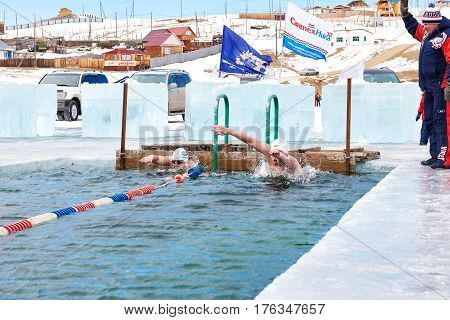 Sahyurta ,irkutsk Region, Russia - March 11.2017: Cup Of Baikal. Winter Swimming. Butterfly