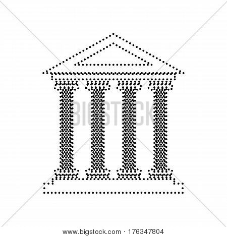 Historical building illustration. Vector. Black dotted icon on white background. Isolated.
