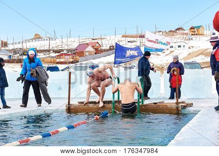 Sahyurta ,irkutsk Region, Russia - March 11.2017: Cup Of Baikal. Winter Swimming. Butterfly 25 Meter