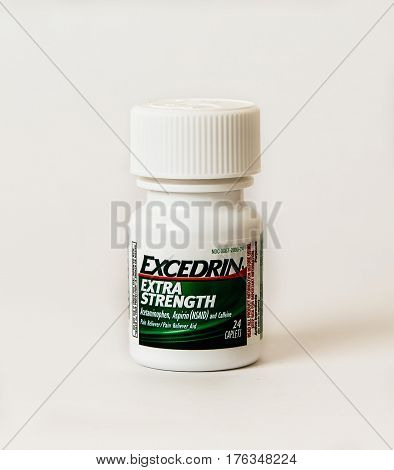 New York December 02: A small bottle of Excedrin isolated on white.