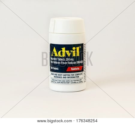 New York December 02: A bottle of Advil pain reliever pills isolated on white.