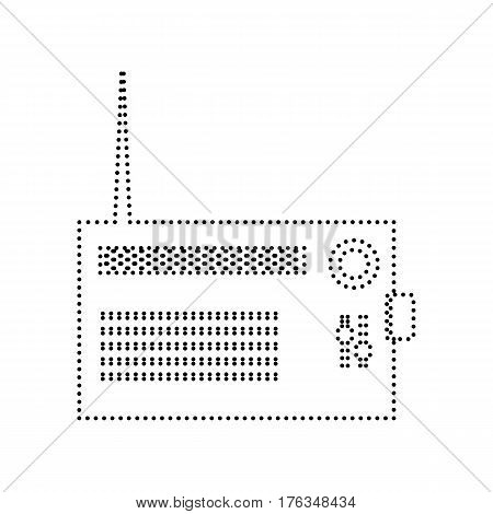 Radio sign illustration. Vector. Black dotted icon on white background. Isolated.