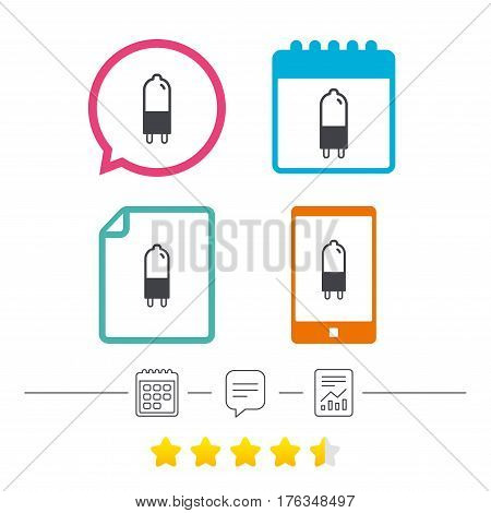 Light bulb icon. Lamp G9 socket symbol. Led or halogen light sign. Calendar, chat speech bubble and report linear icons. Star vote ranking. Vector