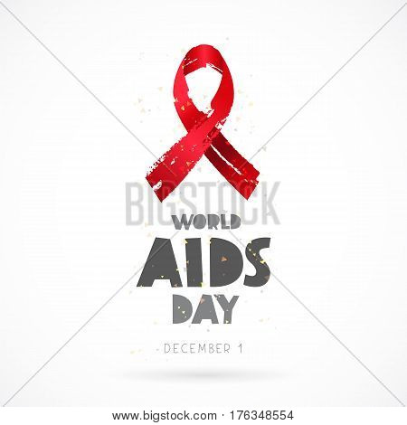 World AIDS Day. December 1. Lettering. Vector illustration on white background. Red ribbon. Elements for design. The concept of health.