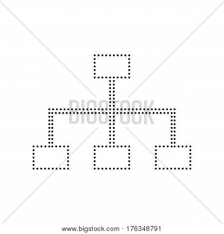 Site map sign. Vector. Black dotted icon on white background. Isolated.