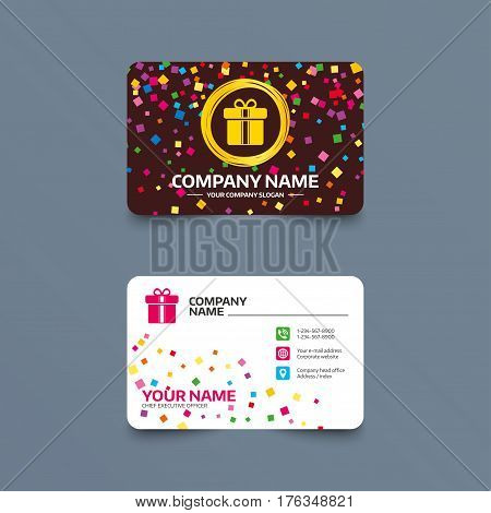 Business card template with confetti pieces. Gift box sign icon. Present with ribbons symbol. Phone, web and location icons. Visiting card  Vector