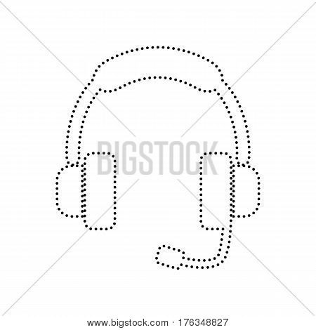Support sign illustration. Vector. Black dotted icon on white background. Isolated.