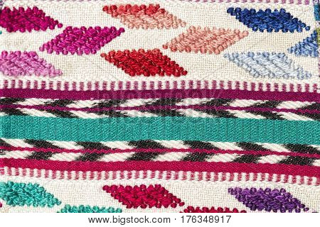 A colored handmade textile, made in Guatemala
