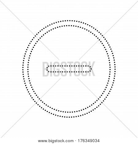 Negative symbol illustration. Minus sign. Vector. Black dotted icon on white background. Isolated.