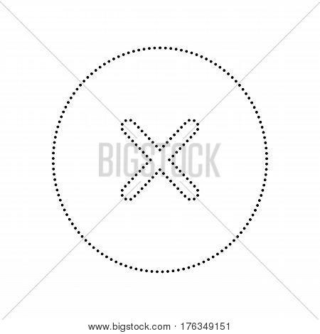 Cross sign illustration. Vector. Black dotted icon on white background. Isolated.