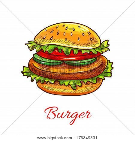 Burger or cheeseburger fast food icon. Vector hamburger sandwich with sesame bun, cheese and lettuce for fastfood restaurant or cafe snack or meal takeaway or delivery menu