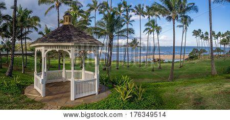 A gazebo along the beautiful east coastline of Kauai near Kapa'a.