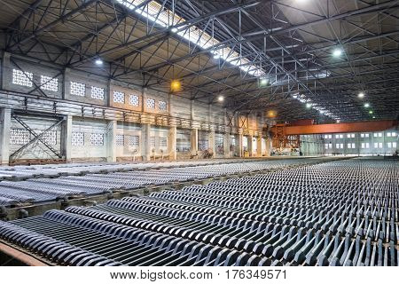 zinc electrowinning workshop closeup in lead and zinc smelter