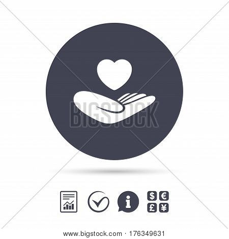 Life insurance sign. Hand holds human heart symbol. Health insurance. Report document, information and check tick icons. Currency exchange. Vector