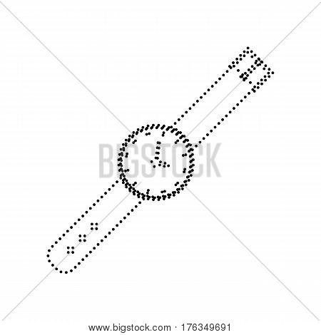 Watch sign illustration. Vector. Black dotted icon on white background. Isolated.