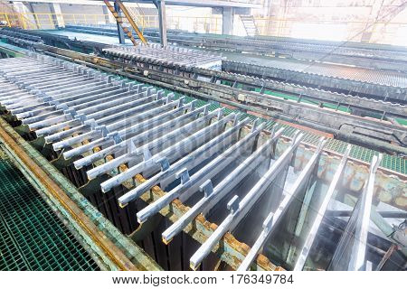 electrolytic zinc production line closeup in lead and zinc smelter