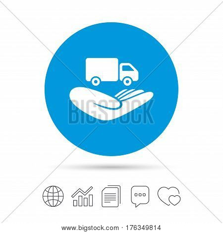 Company vehicles insurance sign icon. Hand holds delivery truck. Protection vehicle from damage and accidents. Copy files, chat speech bubble and chart web icons. Vector