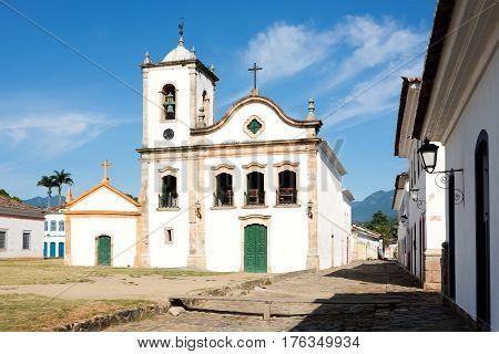 Rio de Janeiro February 15 2016 - Church Igreja de Santa Rita de Cassia in Paraty state Rio de Janeiro Brazil