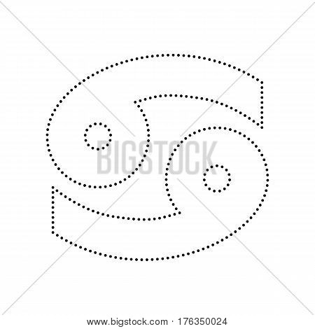 Cancer sign illustration. Vector. Black dotted icon on white background. Isolated.