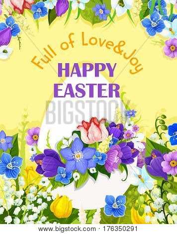Happy Easter holiday greeting card design of paschal eggs in floral bow ribbon. Vector spring flowers bunch of crocuses, daffodils and tulips for Easter springtime or Holy Week religion celebration