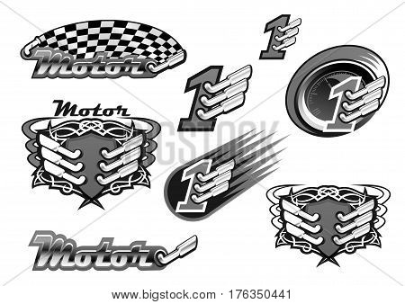 Car racing or motor sport races vector icons of engine and checkered rally flag and number one championship winner or tournament victory symbol. Isolated ornate emblems of turbo exhaust pipe and fire