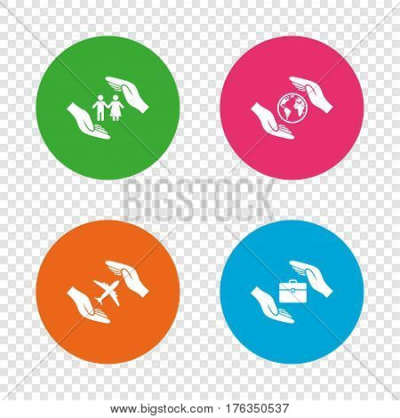 Hands insurance icons. Human life insurance symbols. Travel flight baggage symbol. World globe sign. Round buttons on transparent background. Vector