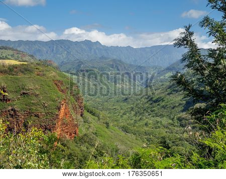 Hanapepe Valley on the island of Kauai. Kauai is considered the Garden Island and is the oldest of the larger Hawaiian Islands.