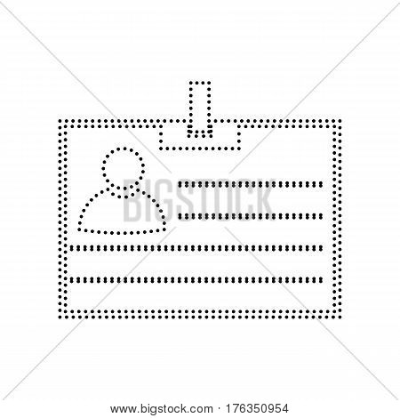 Id card sign. Vector. Black dotted icon on white background. Isolated.