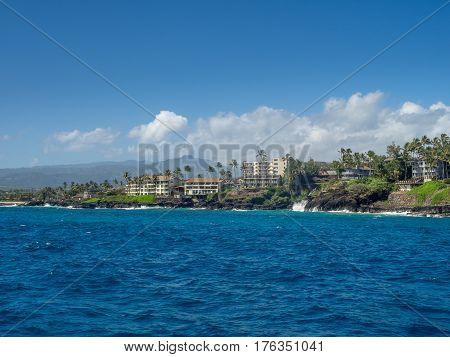 Condominiums along the ocean at Poipu, Kauai.
