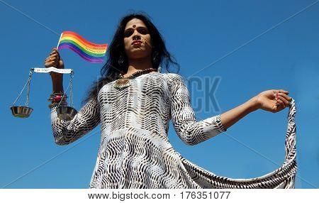 HYDERABAD,FEBRUARY 19:Portrait of LGBT activist with equality demand during Queer Swabhimana Yatra 2017 on February 19,2017 in Hyderabad,India