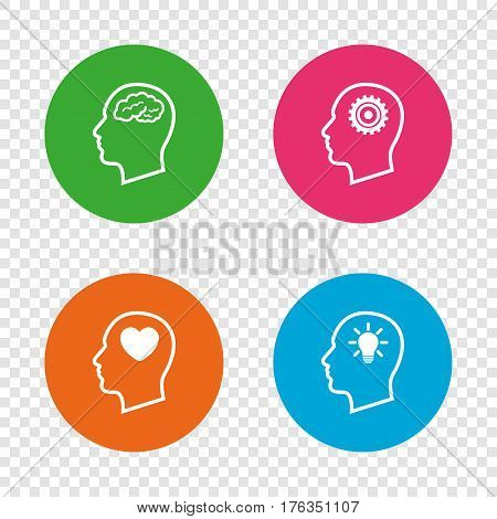 Head with brain and idea lamp bulb icons. Male human think symbols. Cogwheel gears signs. Love heart. Round buttons on transparent background. Vector