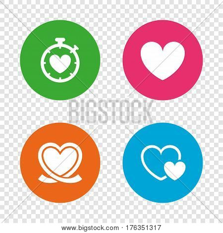 Heart ribbon icon. Timer stopwatch symbol. Love and Heartbeat palpitation signs. Round buttons on transparent background. Vector