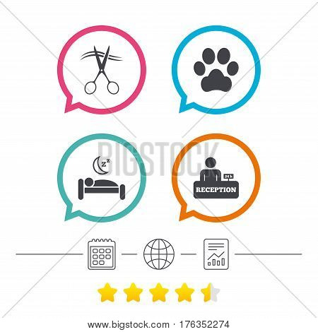 Hotel services icons. With pets allowed in room signs. Hairdresser or barbershop symbol. Reception registration table. Quiet sleep. Calendar, internet globe and report linear icons. Star vote ranking