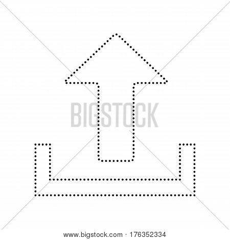 Upload sign illustration. Vector. Black dotted icon on white background. Isolated.