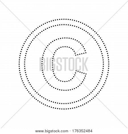 Copyright sign illustration. Vector. Black dotted icon on white background. Isolated.