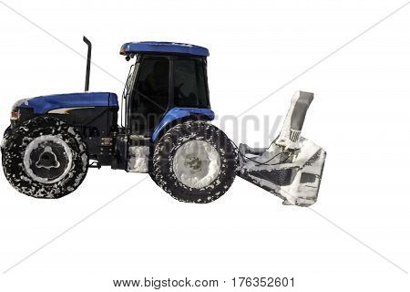 Image of snowblower on tractor on white background