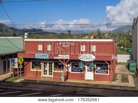 KAUAI, USA - MAR 7:  Business in Kapa'a Town on March 7, 2017 in Kauai, Hawaii. North of Wailua on the East Side is Kapaa Town, a great area for shopping on Kauai.