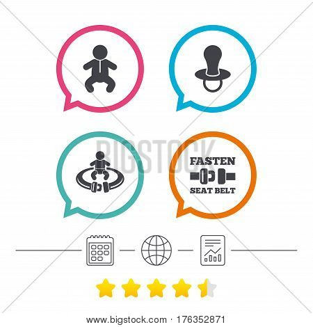 Baby infants icons. Toddler boy with diapers symbol. Fasten seat belt signs. Child pacifier and pram stroller. Calendar, internet globe and report linear icons. Star vote ranking. Vector