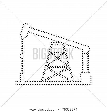 Oil drilling rig sign. Vector. Black dotted icon on white background. Isolated.